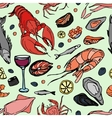 Doodle pattern sea food vector image