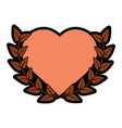 love heart wreath emblem romantic image vector image