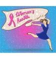 Womans health concept poster in comic pop art vector image