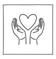 Doodle Hands Holding Heart icon vector image