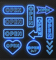 neon open signs collection vector image