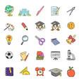 color doodle school icons set vector image