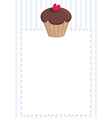 Blue card or invitation with chocolate cupcake vector image vector image