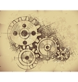 gears on old paper vector image