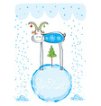 HAppy New Year card with comedy goat vector image vector image