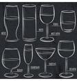 set of different glasses on blackboard vector image