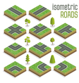 Isometric City Road Elements Set with Trees vector image