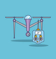 drone quadcopter with remote controller vector image