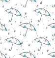 hand drawn umbrella and rain drops pattern vector image
