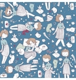 seamless pattern with cute girl princess vector image