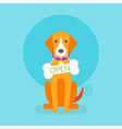 Flat of dog Sign to the pet store vector image