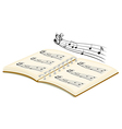 A musical book with musical notes vector image vector image