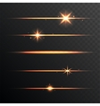 Flare Glowing Lights and Stars Set on Transparent vector image