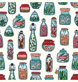 colorful seamless pattern with pickled vegetables vector image