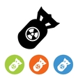 Flat nuclear rocket icons set vector image