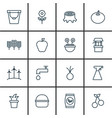 set of 16 plant icons includes sweet berry pail vector image