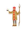shaman character in national clothes performing vector image