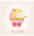 Cute Baby Girl in a Carriage - Baby Shower vector image