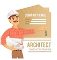 Architect in helmet with blueprints and keys in vector image