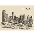 Los Angeles skyline California vintage engraved vector image