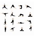 Yoga postures silhouette set vector image