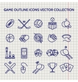 Ball pen game outline icons set vector image