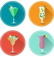 Alcohol drinks and cocktails icon set vector image