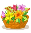 Basket with flowers lily vector image
