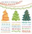 Holiday garland brushesChristmas doodle kit vector image