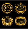 set of golden royal stickers or emblems vector image