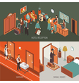 Hotel Concept Isometric Design Poster vector image