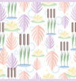seamless pattern with wetland plants reed water vector image