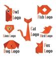 trendy animals logo in origami style vector image