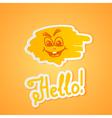 Hello on orange paper vector image