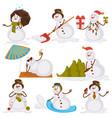 christmas snowman santa cartoon character icons vector image