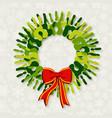 Diversity green hands Christmas wreath vector image