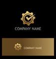 gear cog wheel check mark gold logo vector image