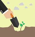 Hand planting a tree vector image