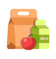school lunch meal box breakfast container and milk vector image