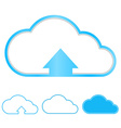 set of blank paper blue clouds with arrow vector image