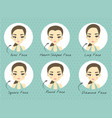 set of various woman face shape for make up vector image