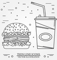 thin line icon hamburger and soda For web design vector image