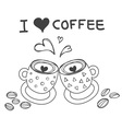 two coffee cups with heart word I love coffee vector image