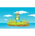 Happy King Cartoon Frog vector image vector image