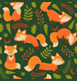 seamless pattern fox on green background vector image