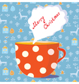christmas tea cup vector image vector image