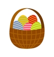 Colorful easter eggs in the basket icon vector image vector image