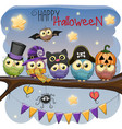five owls on the branch vector image