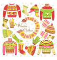 knitted clothing knitwear winter clothes sweater vector image