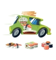 sushi delivery green car vector image